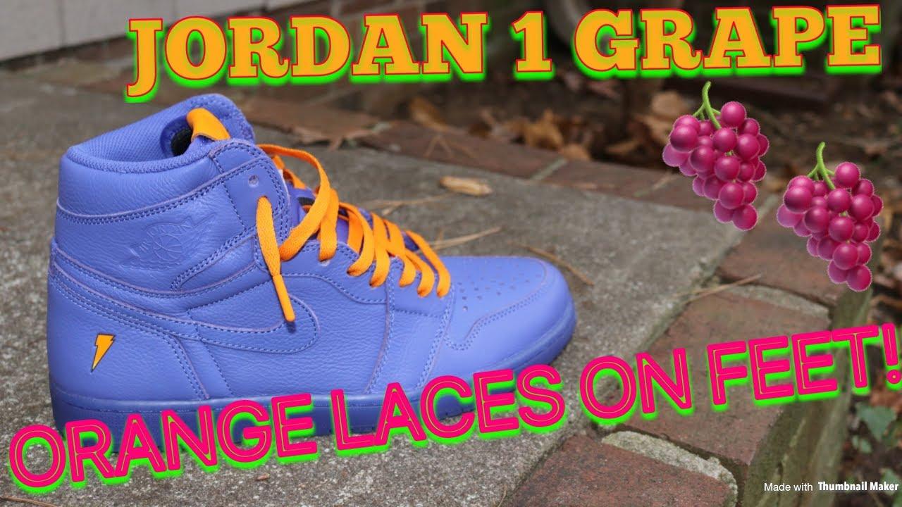 e1cfd2bb681 JORDAN 1 GATORADE GRAPE ORANGE LACES ON FEET!! - YouTube