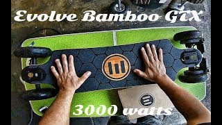 Evolve Bamboo GTX 3000 Watt electric Longboard // Unboxing & Riding