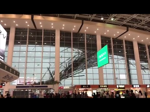 Roof Collapses at airport in China during storm