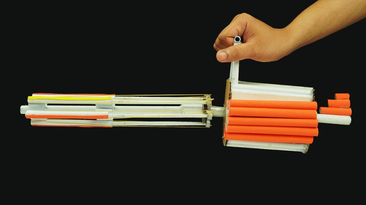 diy paper gun  how to make a paper minigun that shoots