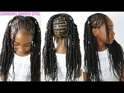 Kids Natural Hair Styles Cornrows Braided Style Back To School Hair Youtube