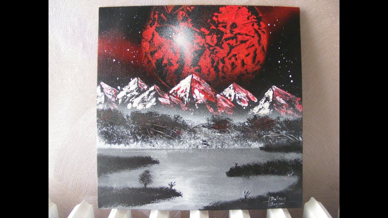 peinture d 39 un tableau la bombe lune rouge spray paint art red moon youtube. Black Bedroom Furniture Sets. Home Design Ideas