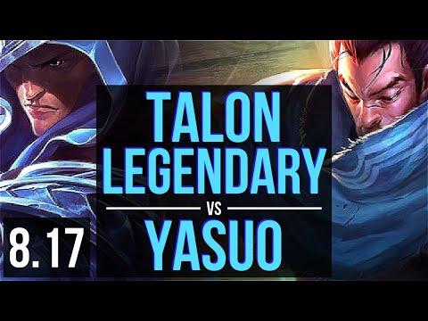 TALON vs YASUO (MID) ~ Legendary, KDA 12/2/2 ~ Korea Master ~ Patch 8.17