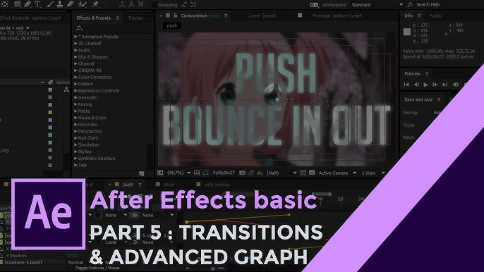 After Effects Basic Tutorial : TRANSITIONS & ADVANCED GRAPH