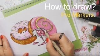 How to draw? Food Illustration. Donuts Speed painting. Как рисовать промаркерами.