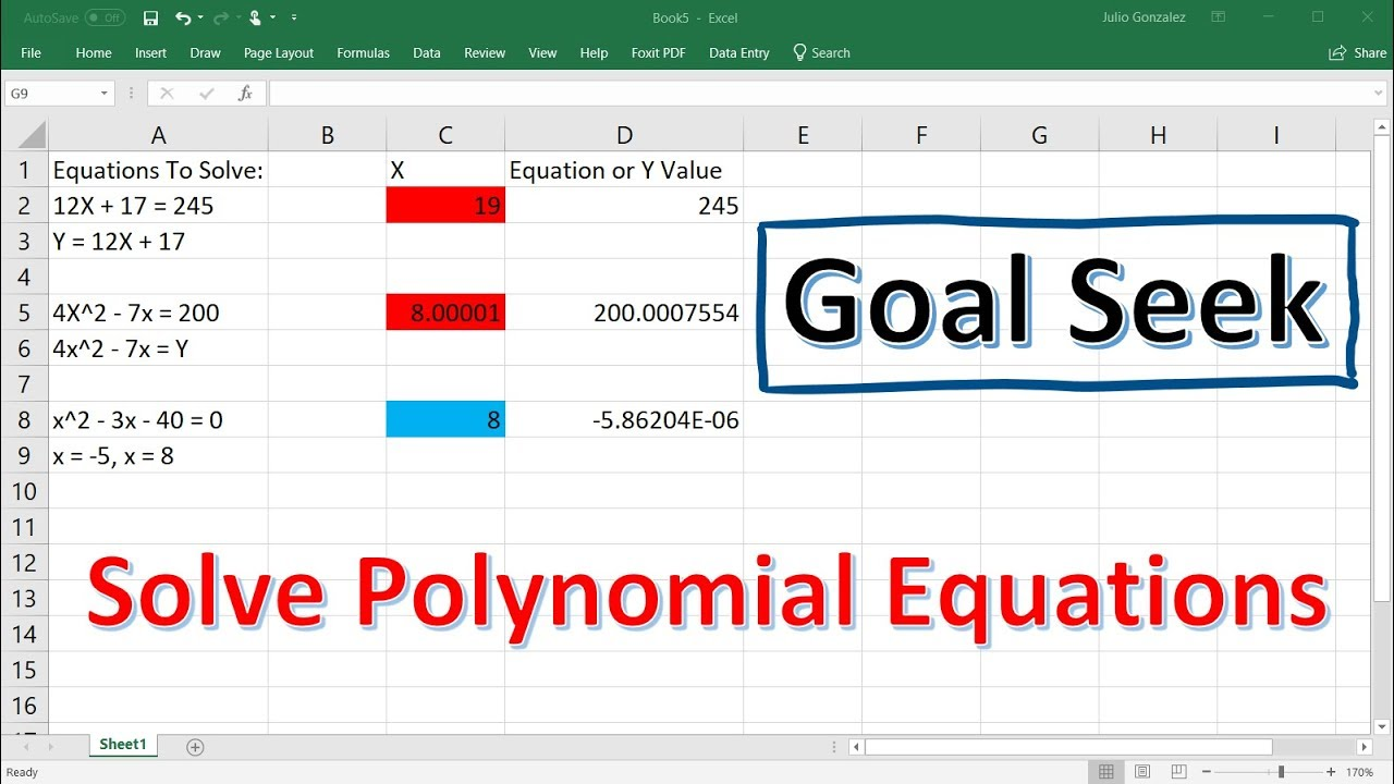Solving Polynomial Equations Using Goal Seek In Excel