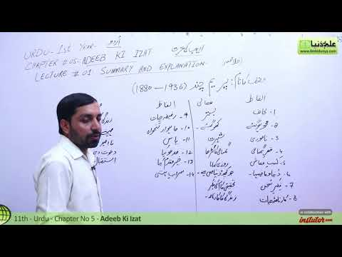 First Year Urdu,Chapter 5,lec 1,Summary & Explanation-Adeeb Ki Izat-11th class Urdu