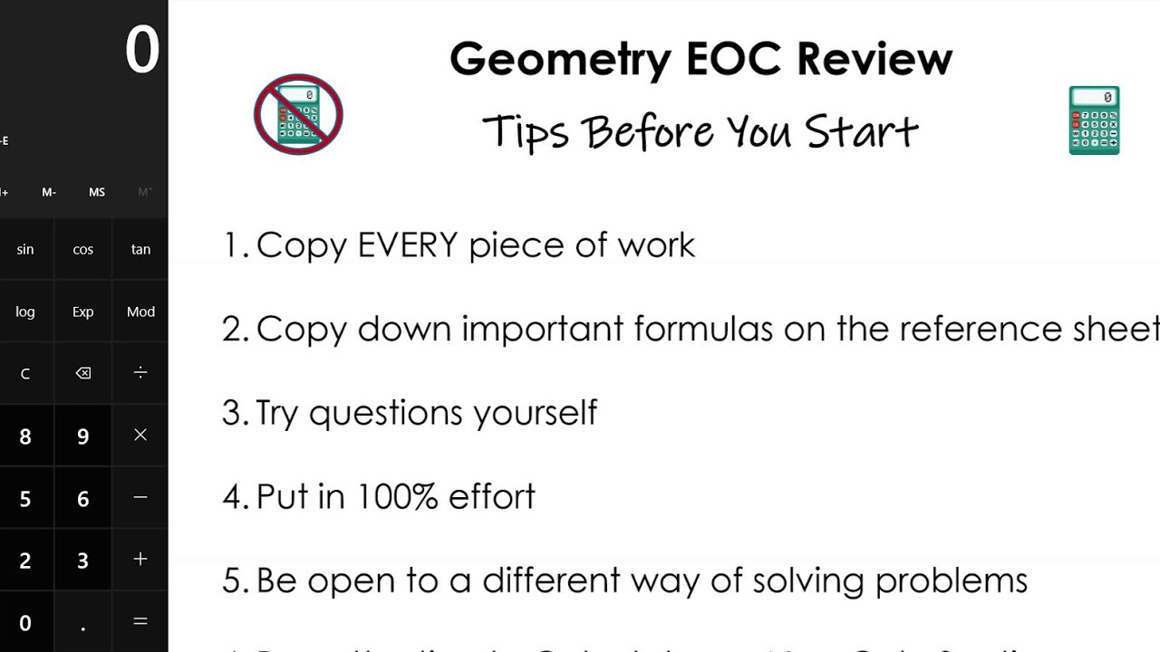 Geometry EOC Full Year Review Packet - FHS Tips Before You Start