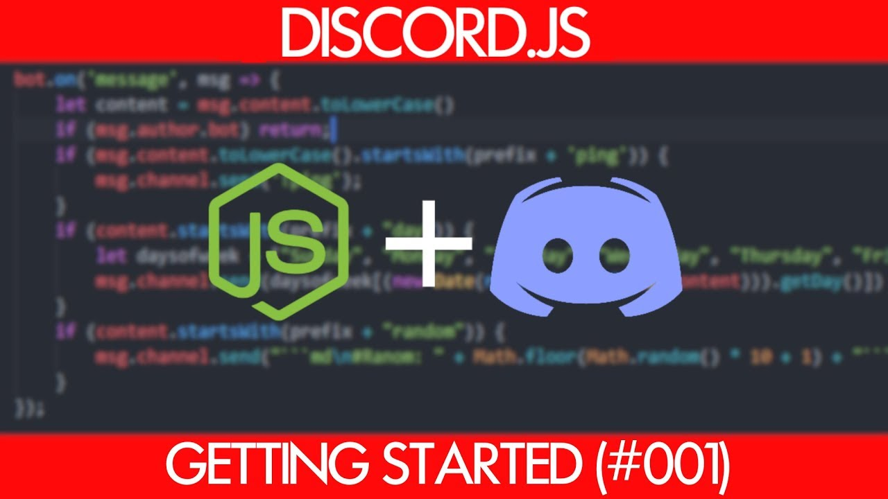 Discord js Bot Tutorial - Getting Started (Ping, Day of Week, Random Number  Commands)
