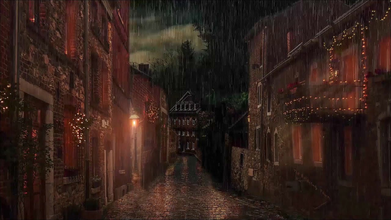 🎧 Rain on a alley at Night 10 Hour -Thunderstorm sounds and Rain Sounds | Rain Ambience | Study