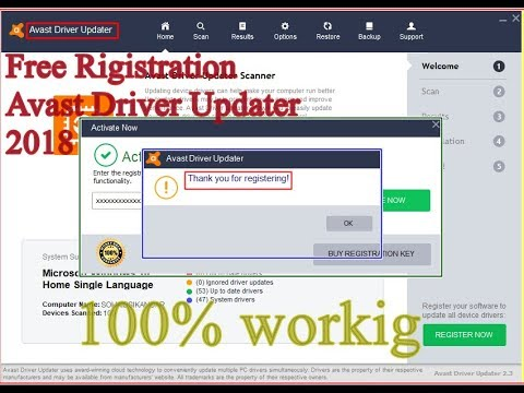 avast free driver updater registration key 2018