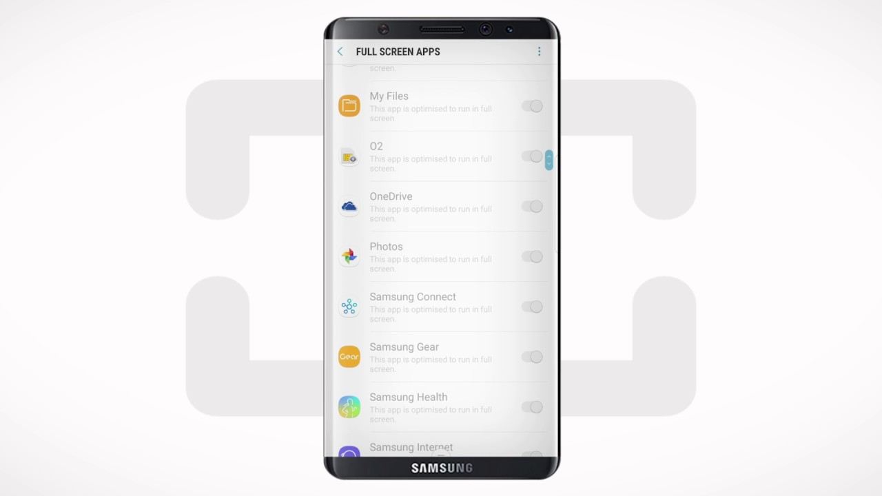 Samsung Galaxy S8 Full Screen Apps