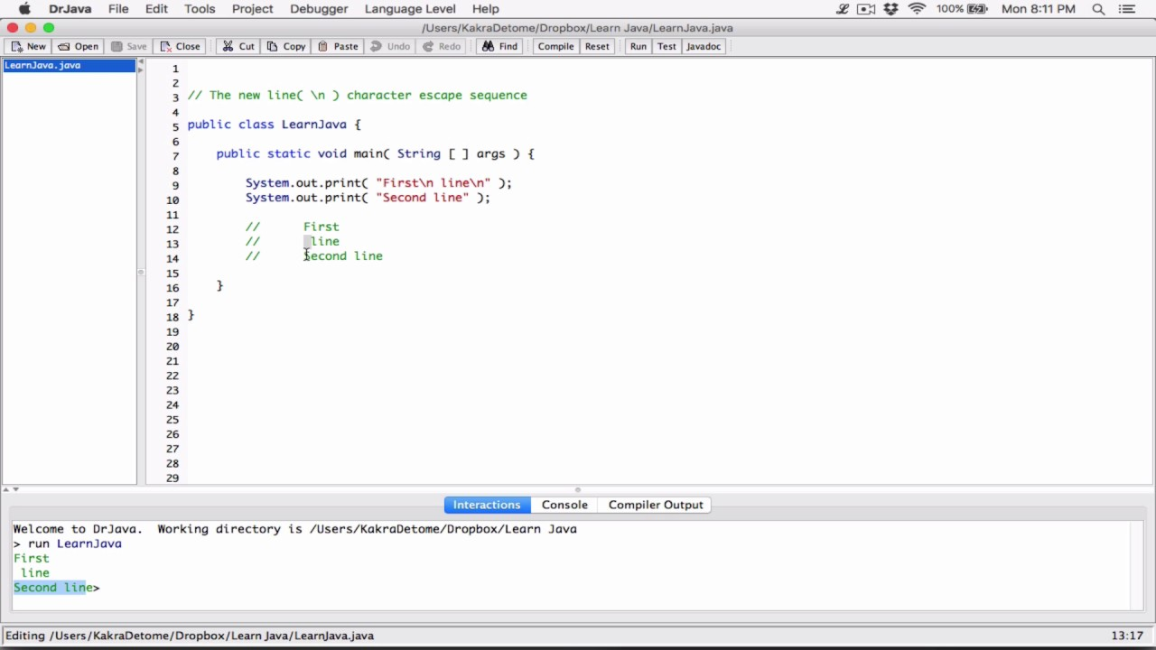 7  The new line( \n ) character / escape sequence - Learn Java