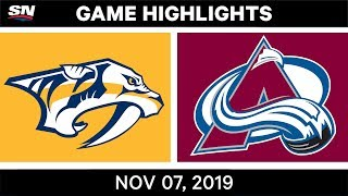 NHL Highlights   Predators vs. Avalanche – Nov. 07, 2019