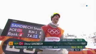 JO 2018 : Snowboard Slopestyle - Staale Sandbech régale.