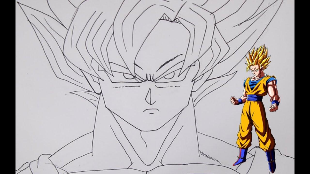 رسم كوغو Dragon Ball Super Saiyan خطوة بخطوة بالرصاص والتخطيط
