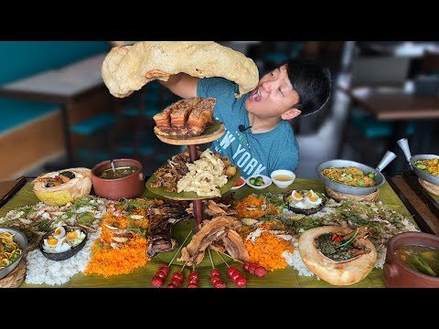 MASSIVE Filipino FOOD BATTLE! Over 50 DISHES! Boodle Fight!