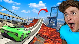 Can You Jump The IMPOSSIBLE BRIDGE GAP In GTA 5.. (Mods)