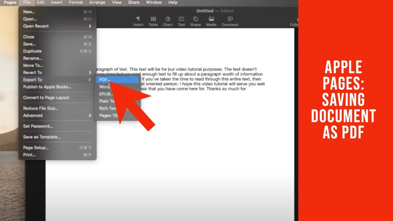 How To Save Apple Pages As A Pdf Youtube