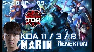TOP MaRin RENEKTON vs ORNN Top - Patch 8.9 KR Ranked