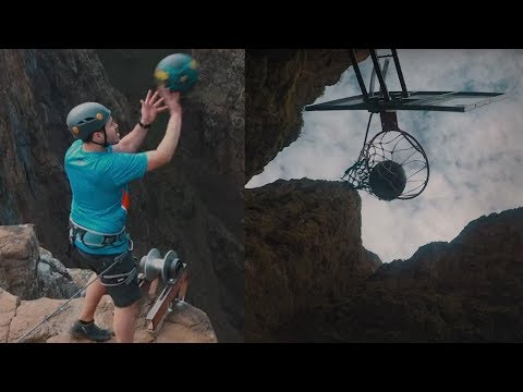 Download Youtube: Man BREAKS World Record with 660-Foot Basketball Shot from a Waterfall!