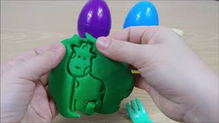 Play Doh and Giraffe Pig Cookie Mold Police Car Fire Engine Egg Toy