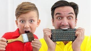 CHOCOLATE FOOD VS REAL FOOD CHALLENGE by Senya and Daddy