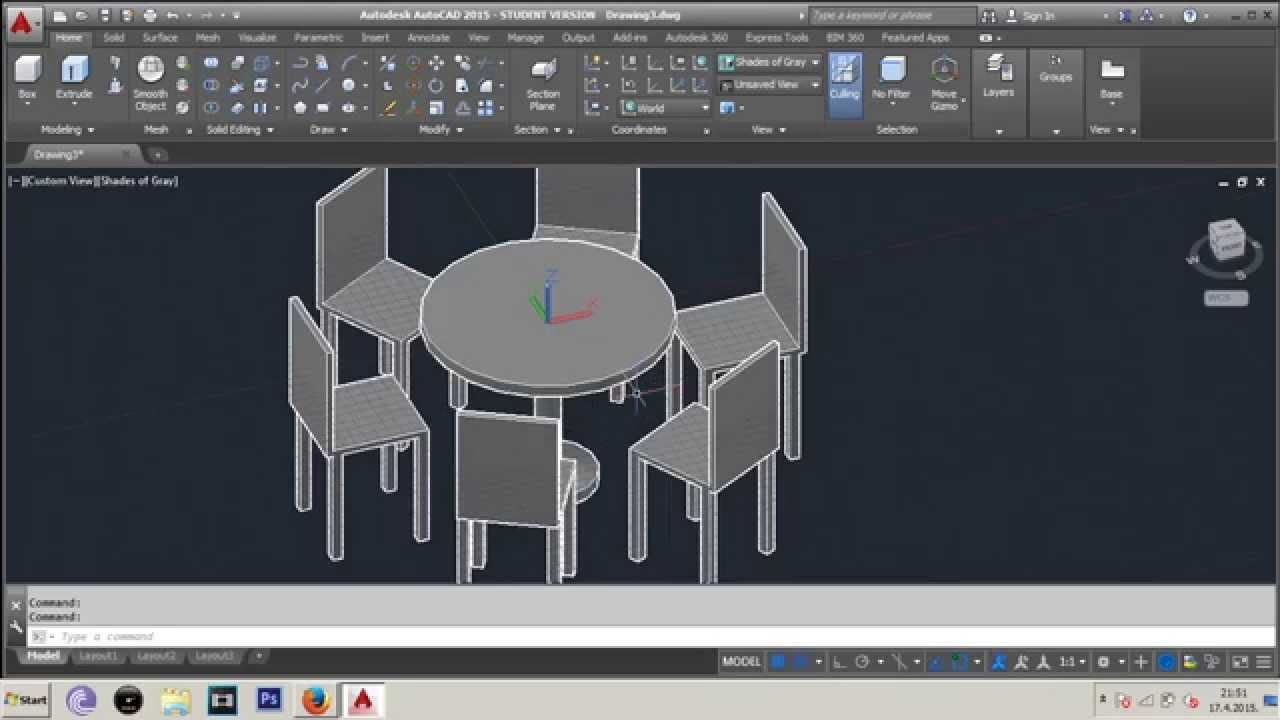 Autocad 3d Dinner Table Chairs Isometric Projection