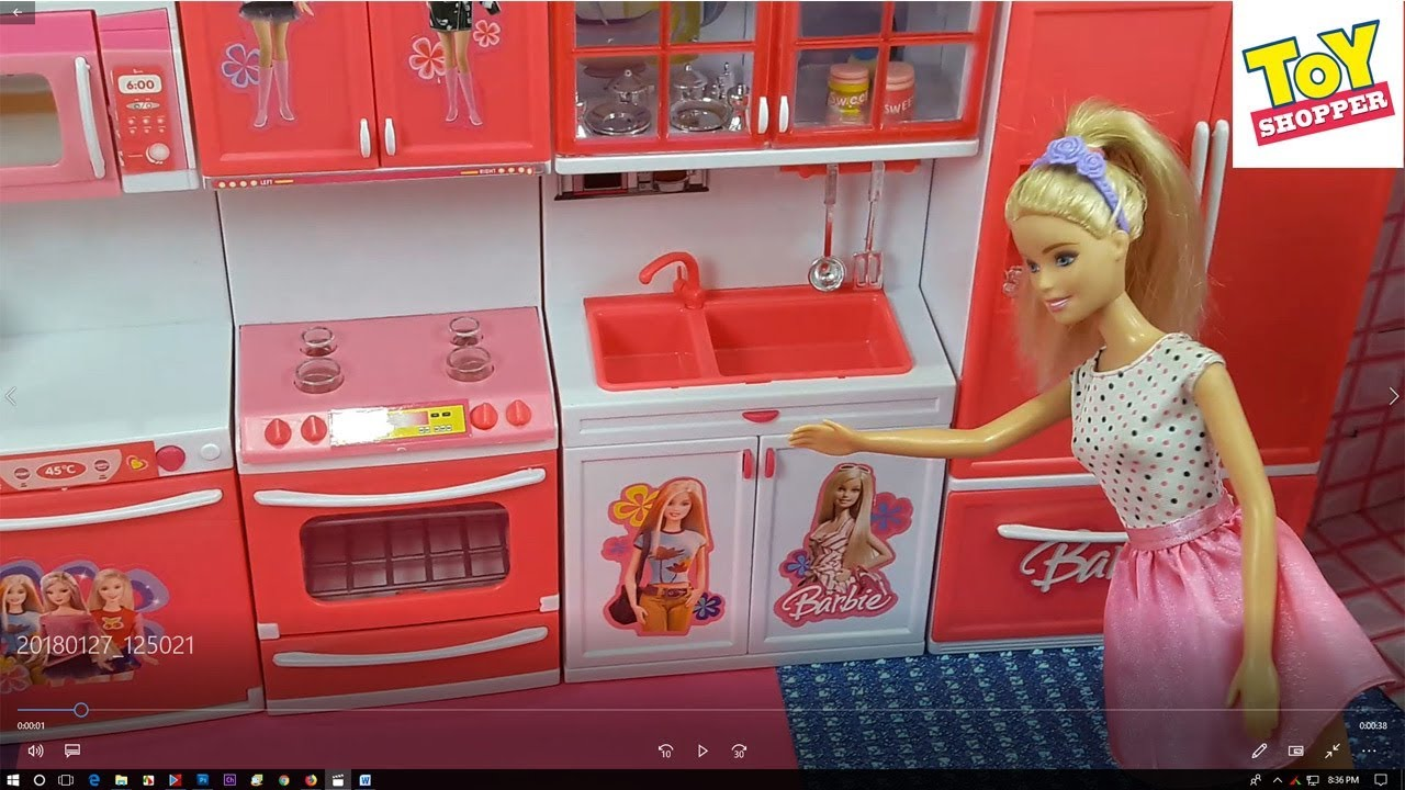 Barbie Kitchen Set Unboxing Modern Real Cooking Kitchen Battery Operated Youtube