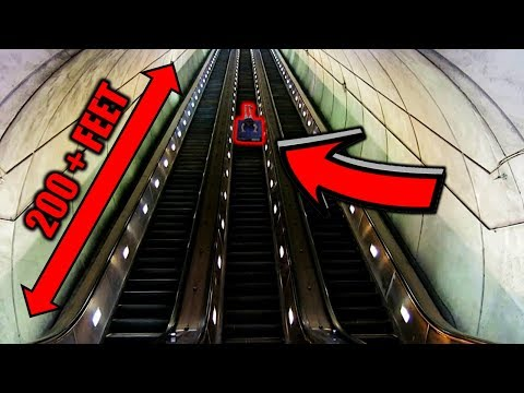 SLIDING DOWN WORLD'S LONGEST ESCALATOR! (200 + FEET)
