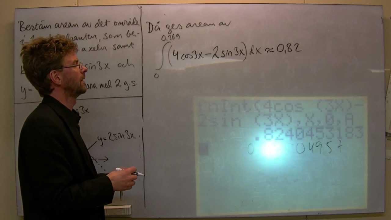 MaD: Areaberäkning med integral, trig. funktioner, exempel