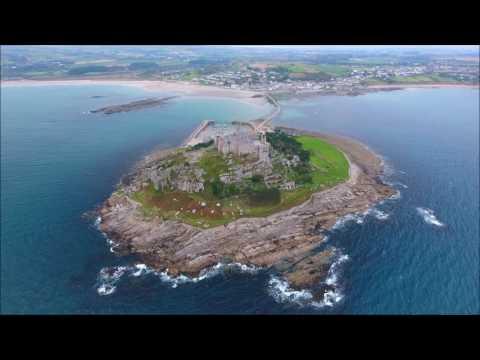 St Michael's Mount Marazion Cornwall from above DJI Phantom 4 drone