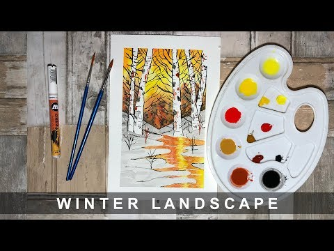 Winter Watercolor Landscape – Speed Painting [Abel Rosales]
