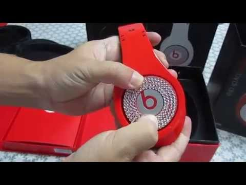 Monster Beats By Dr Dre Red Studio Headphone with Diamonds