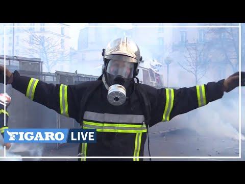 Policias y Bomberos se enfrentan en Francia