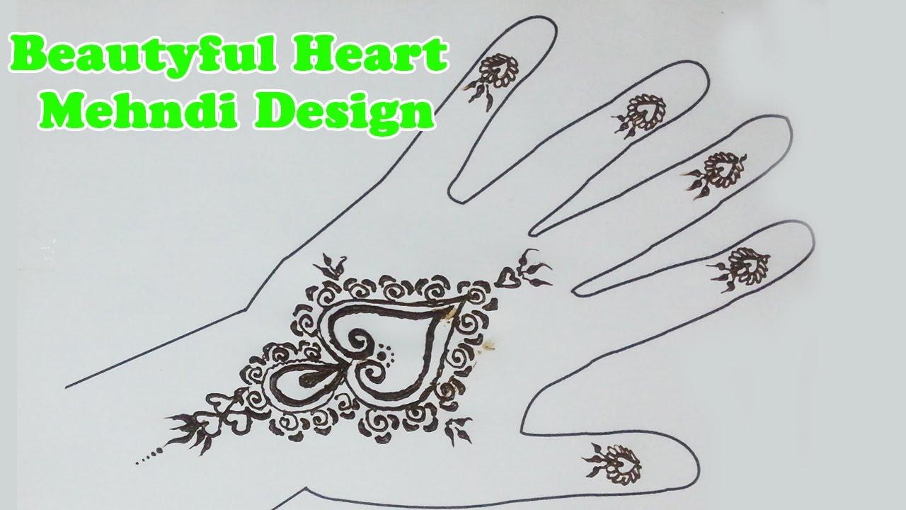 Easy Mehndi Designs for Beginners, Heart Mehndi Design, easy henna ...