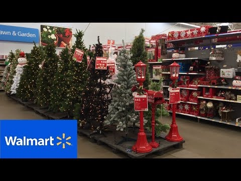 WALMART COMPLETE CHRISTMAS DECORATIONS TREES ORNAMENTS SHOP WITH ME SHOPPING STORE WALK THROUGH 4K