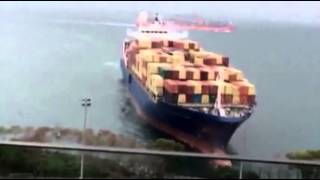 Raw: German Container Ship Runs Aground
