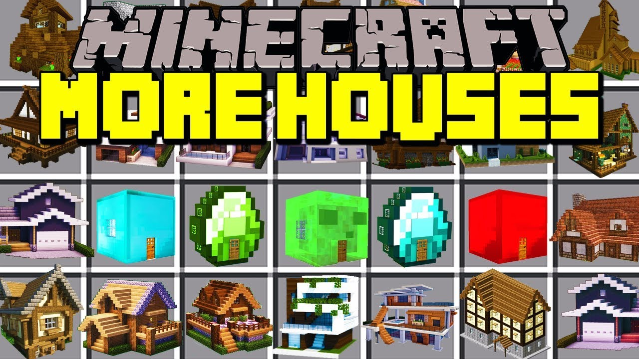Minecraft MORE HOUSES MOD! | INSTANTLY BUILD HOUSES, CAVES, DUNGEONS & MORE! | Modded Mini-Game