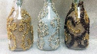 Decorando garrafas com vidrilhos – Decoração