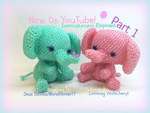 Rainbow Loom Elephant (Part 1 of 2) Loomigurumi Amigurumi Hook Only слон Лумигуруми