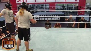 ZZ struggles with a dropdown drill: WWE Tough Enough Digital Extra, August 3, 2015