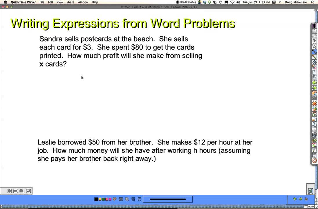 Algebraic Expression Word Problems
