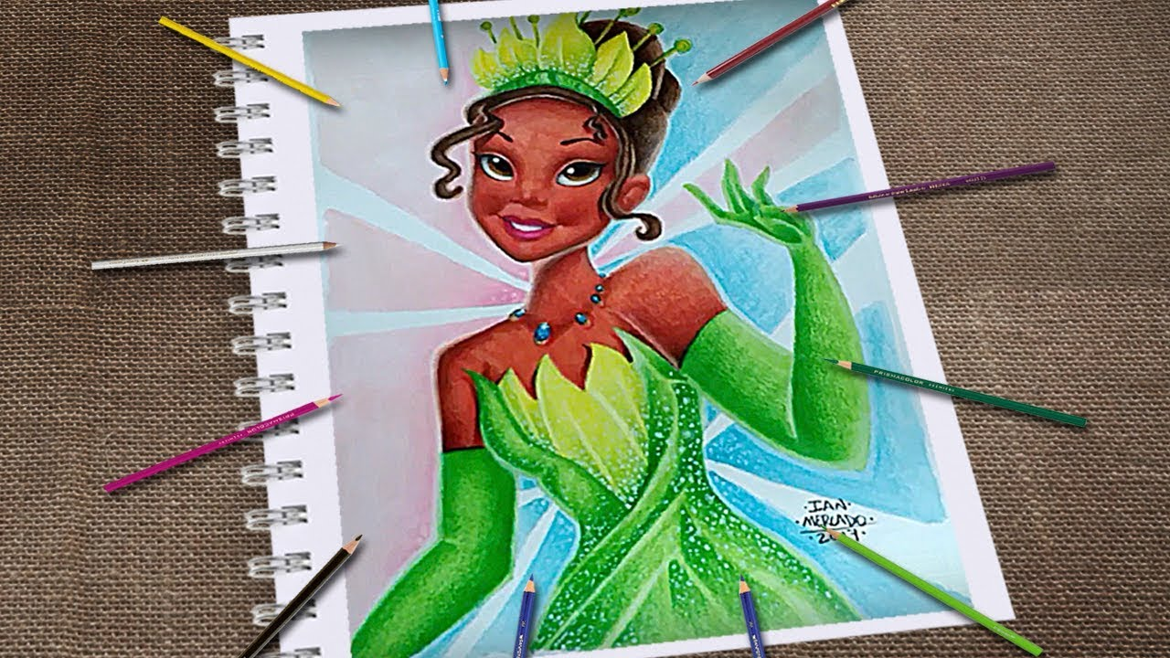 Dibujo De Tiana Y El Sapo Tiana Para Colorear: Dibujando A Tiana Princesa Y El Sapo Con Colores Berol Y