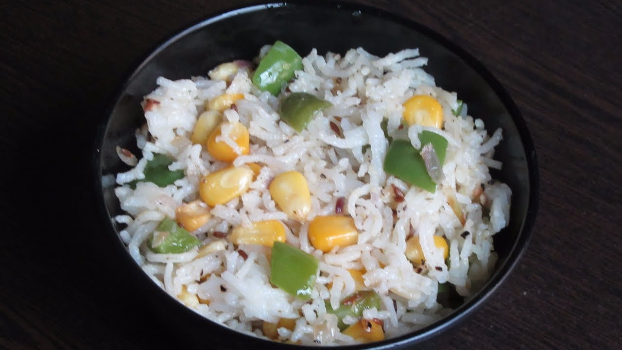 Corn capsicum pulao with cooked Rice | Sweet corn Rice | Capsicum Rice |