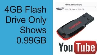 4GB flash drive only shows 1GB