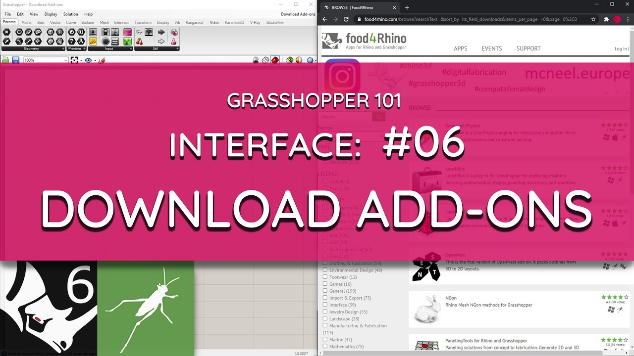 Grasshopper 101: User Interface   #06 Download Add-Ons