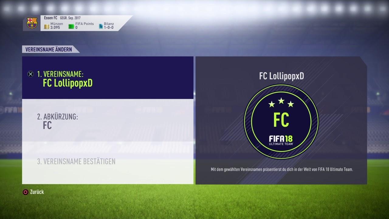 Fifa 18 Ultimate Team: Verein Name ändern