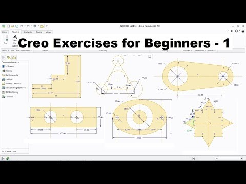 Creo Practice Exercises for Beginners - 1 | Creo Sketcher Exercise | Creo Basics Tutorial