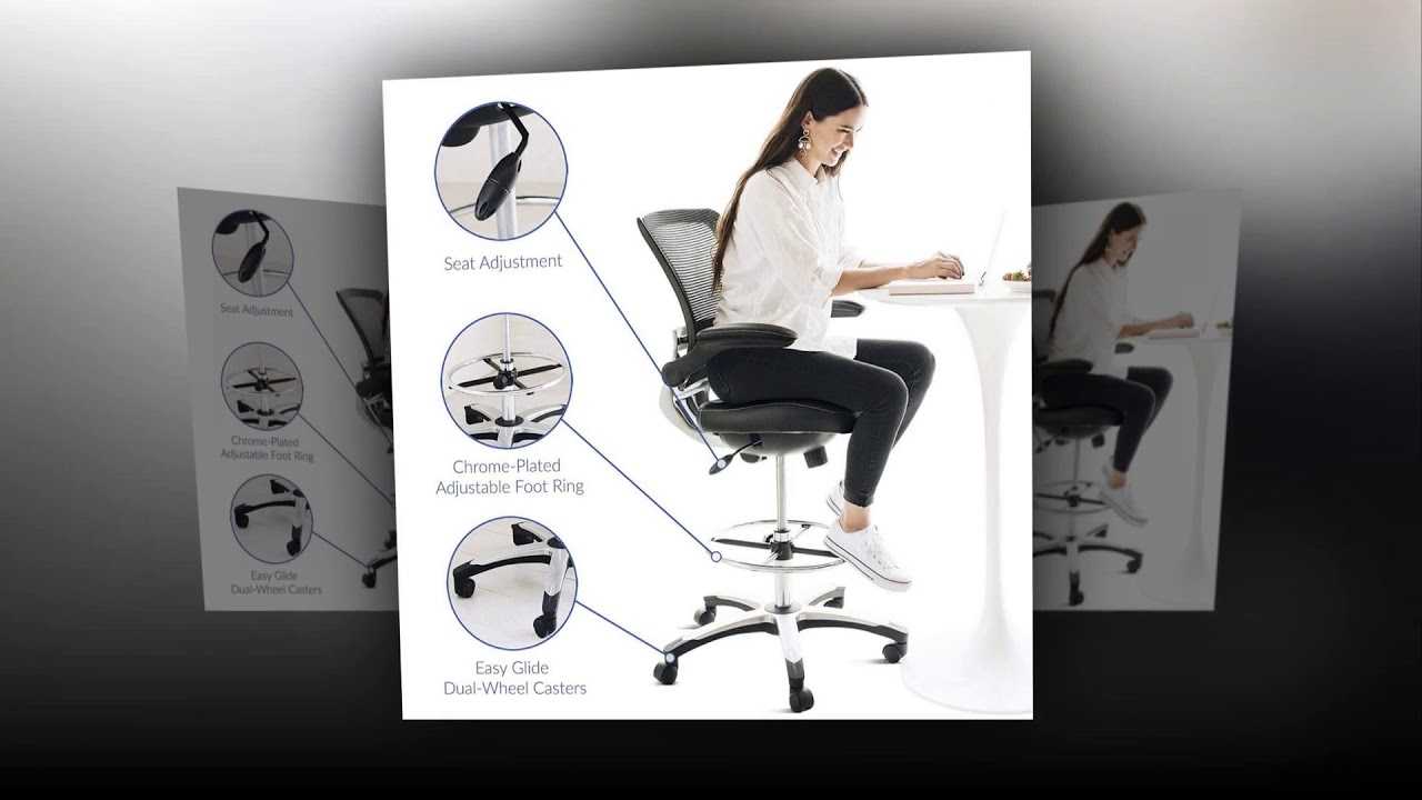 lexmod focus edge desk chair glider covers for nursery modway drafting in black vinyl reception tall office adjustable